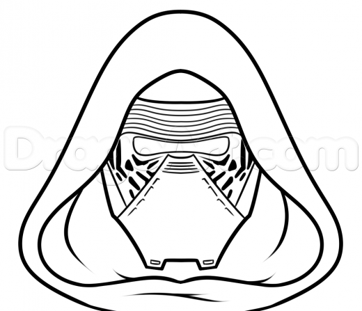Coloring Pages Kylo Ren : How to draw kylo ren easy step
