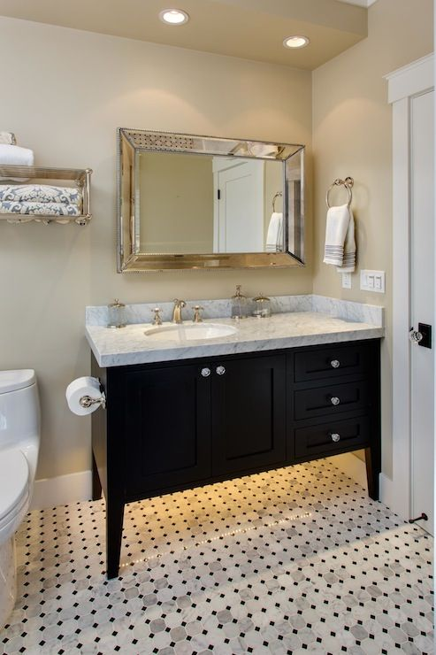 Latala Homes Stunning Bathroom With Venetian Beaded Mirror Hung Above Glossy Black