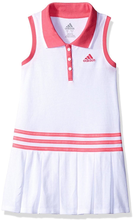 9979c5f53f4 Amazon.com: adidas Little Girls' Active Polo Dress, White, 6: Clothing
