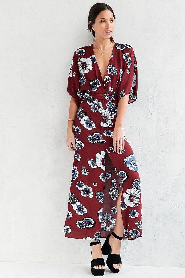 85089e41c38 Glamorous Printed Kimono Maxi Dress -  104.00 Red Floral Dress