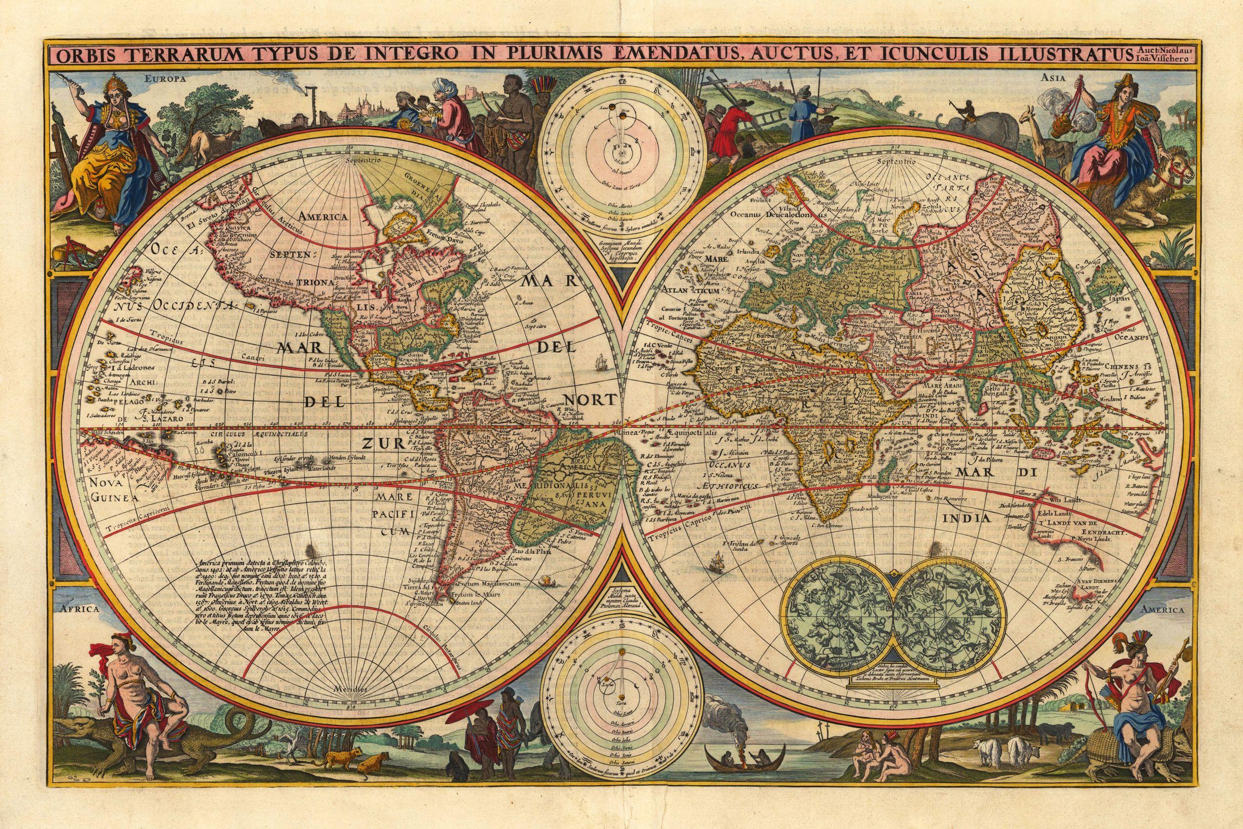 Antique Map Of World.Antique Map World Cvln Rp