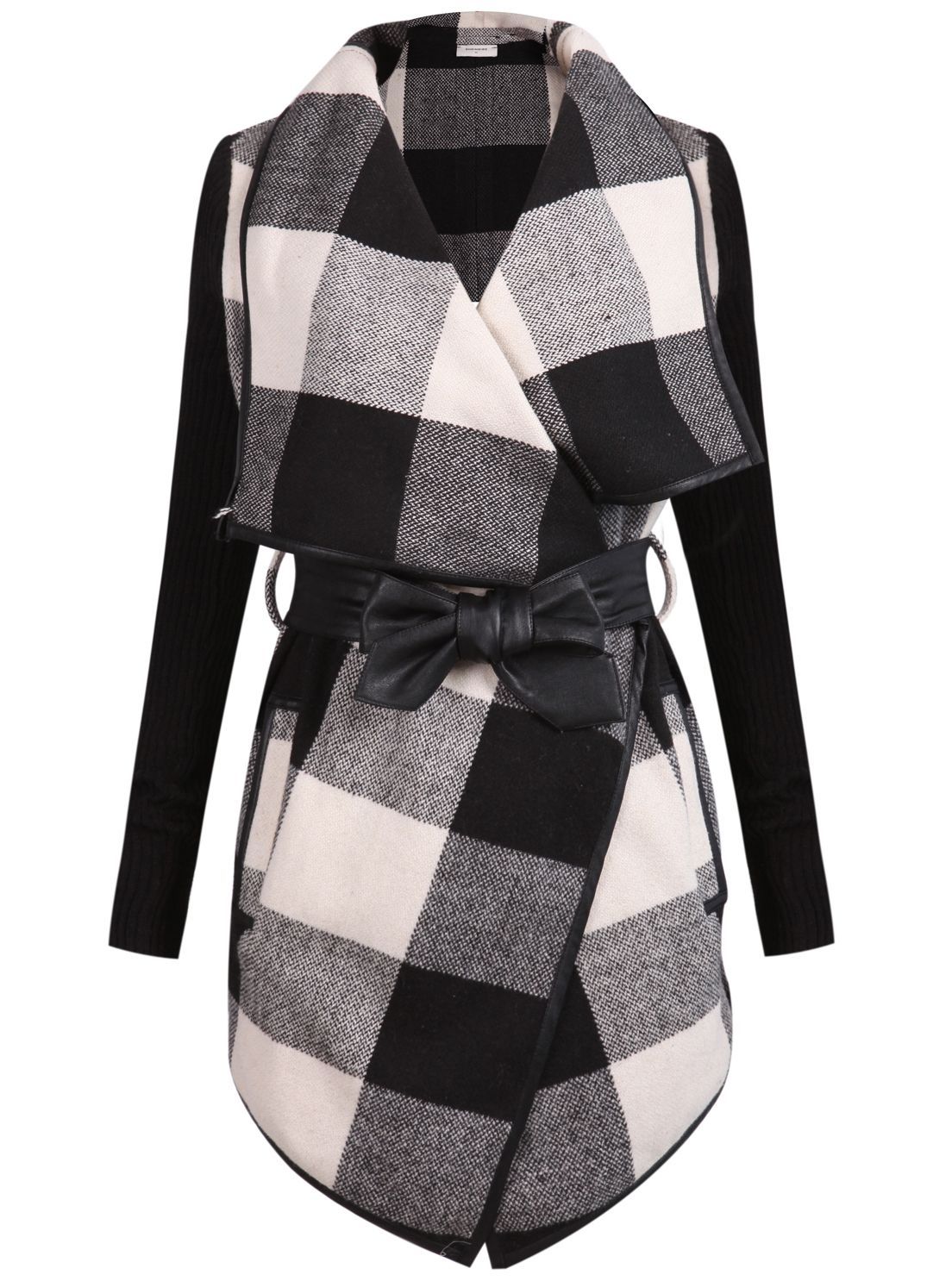 Check Plaid Contrast Ribbed Sleeve Belt Coat | Belted coat and Plaid