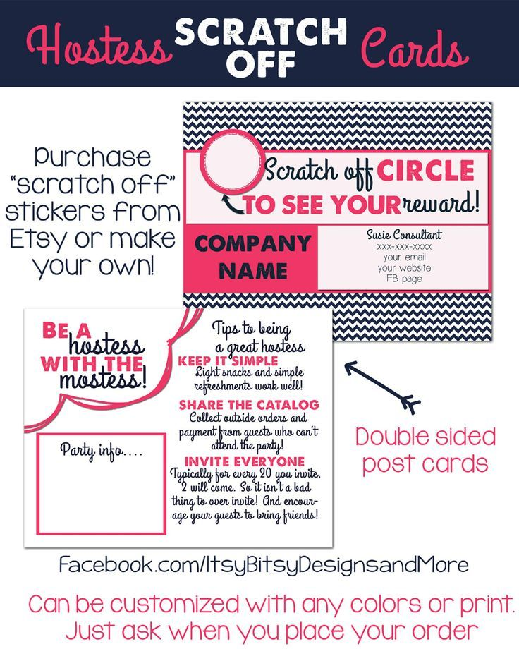 Scratch off hostess card!!! Can be customized with any color combo - new vistaprint norwex