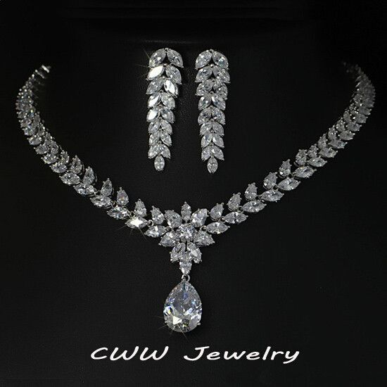 071de9f051b9e White Gold Plated Luxury Bridal Jewelry Big Teardrop CZ Diamond Necklace  And Earrings Sets For Wedding Decoration T161