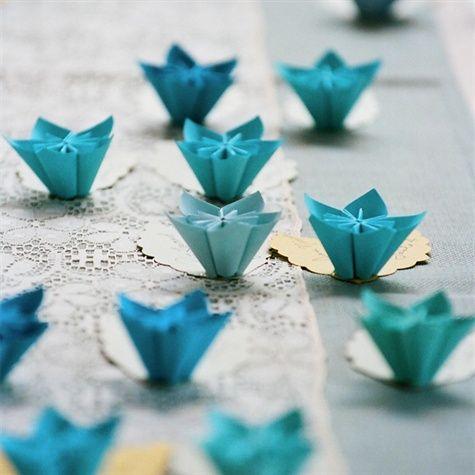 origami flower escort cards nontraditional wedding