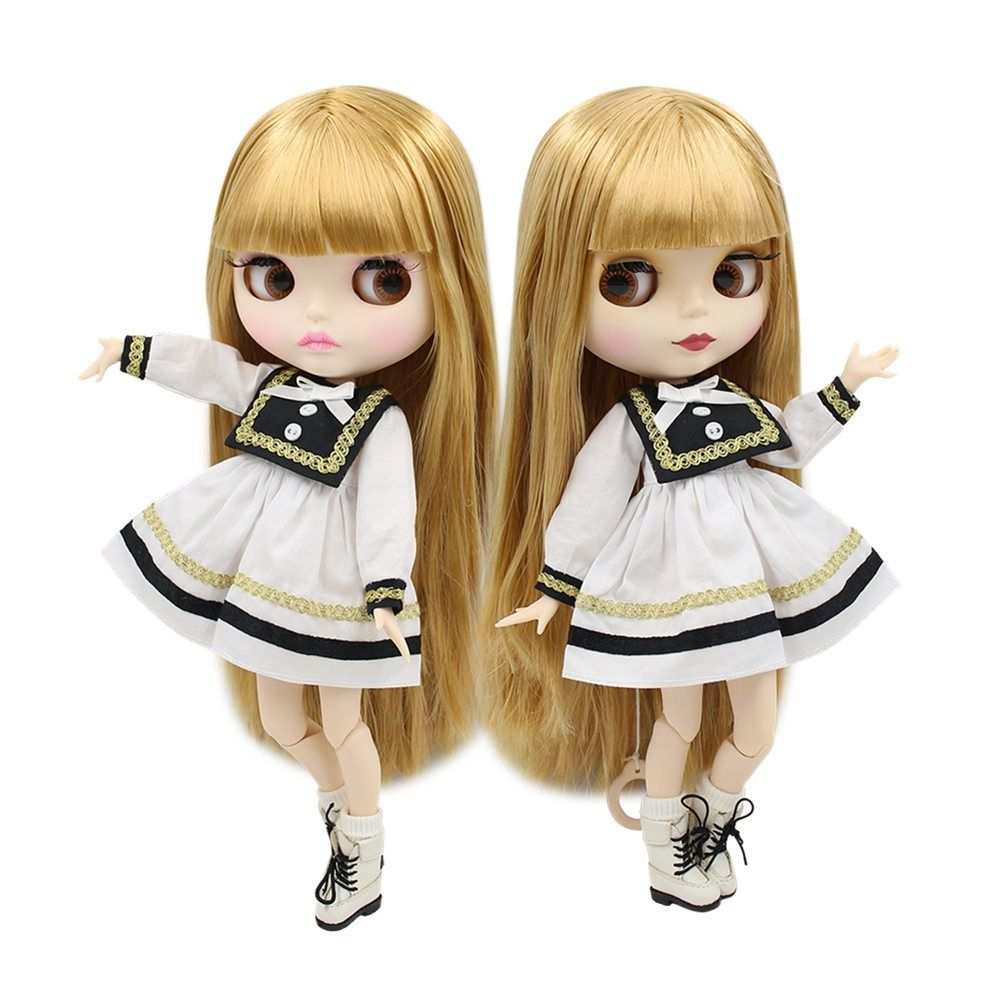 """12/"""" Neo Blythe Doll from Factory Black Skin Jointed Body Auburn Hair With Bang"""