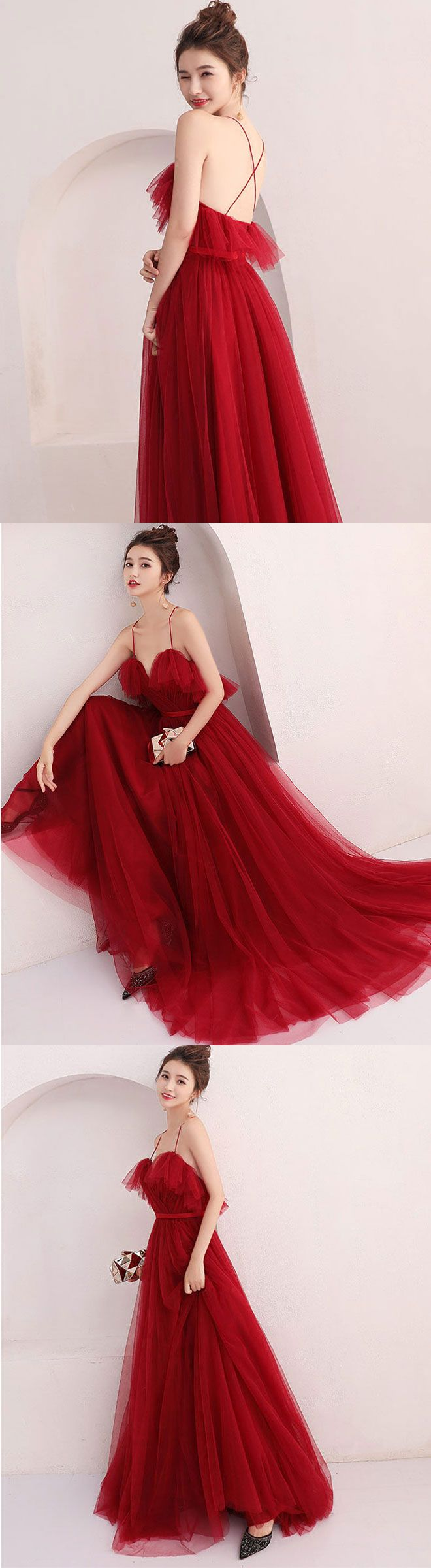 Burgundy tulle long prom dress evening dress in prom dress