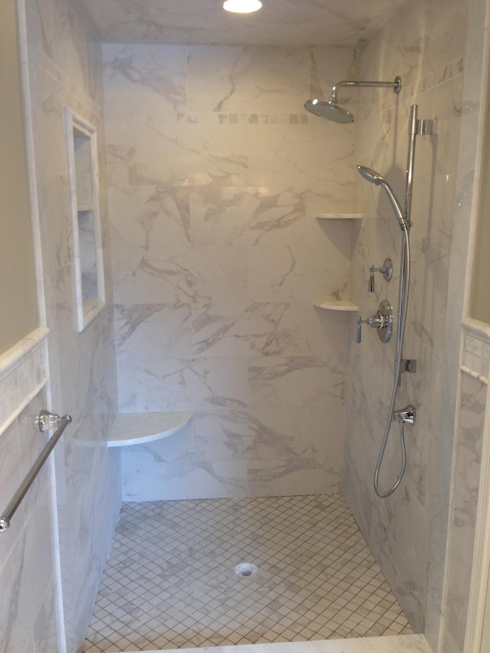 Calcatta Tile // Marble Style Tile // Large Tiled Walk-In Shower ...