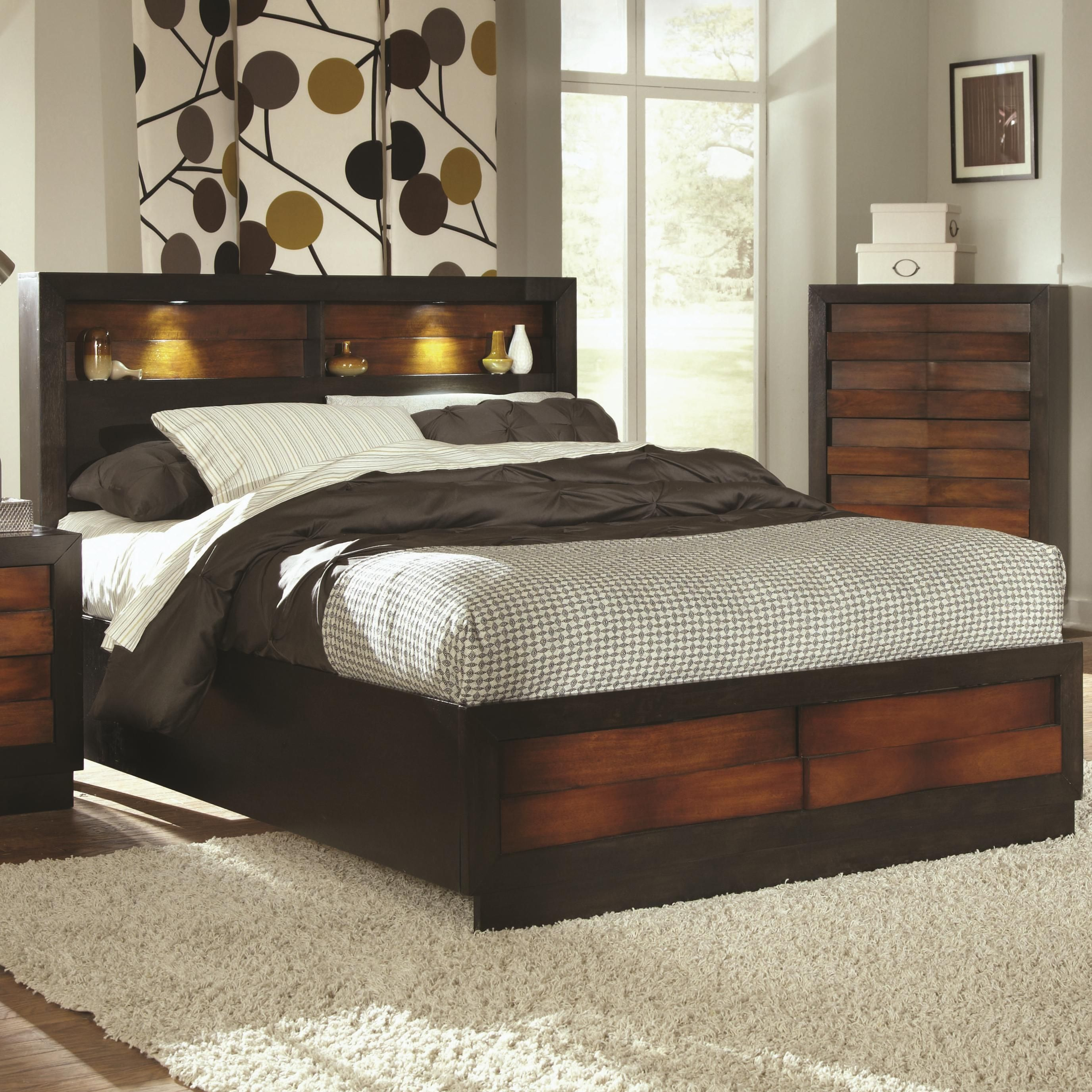 Furniture Bedroom Two Tone Polished Teak Wood Platform