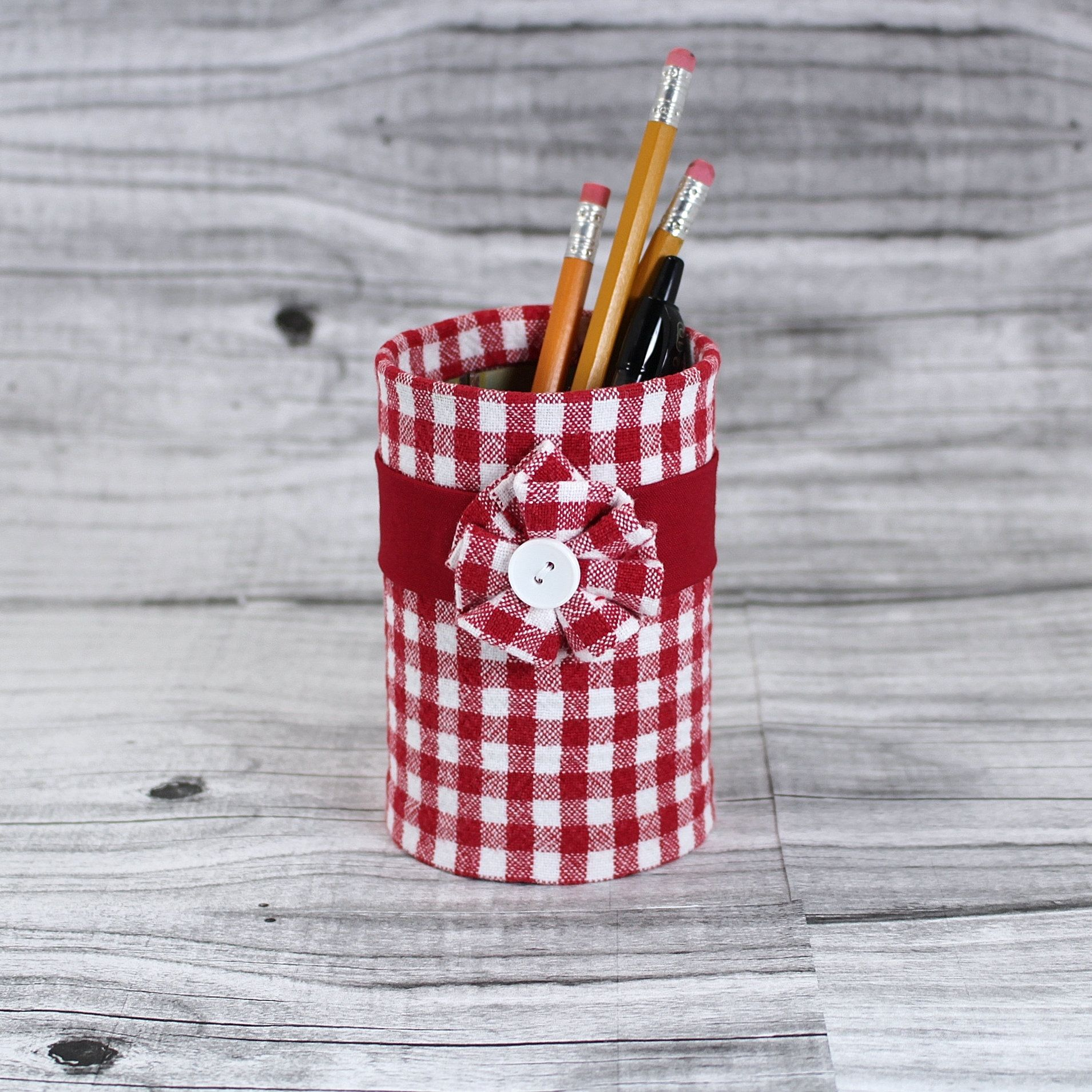 Pencil holder, decorated tin can, gingham fabric, teacher