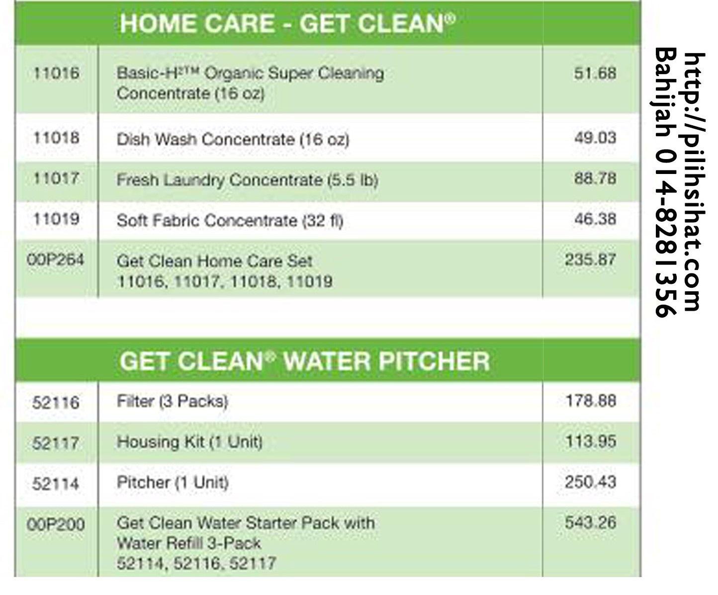 Senarai Harga Produk Shaklee 2017 Kategori Home Care   Antara produk yang tersenarai dalam kategori ini ialah Basic H Organic Super Cleaning, Dish Wash Concentrate, Get Clean Home Care Set, Get Clean Water Pitcher dan sebagainya.