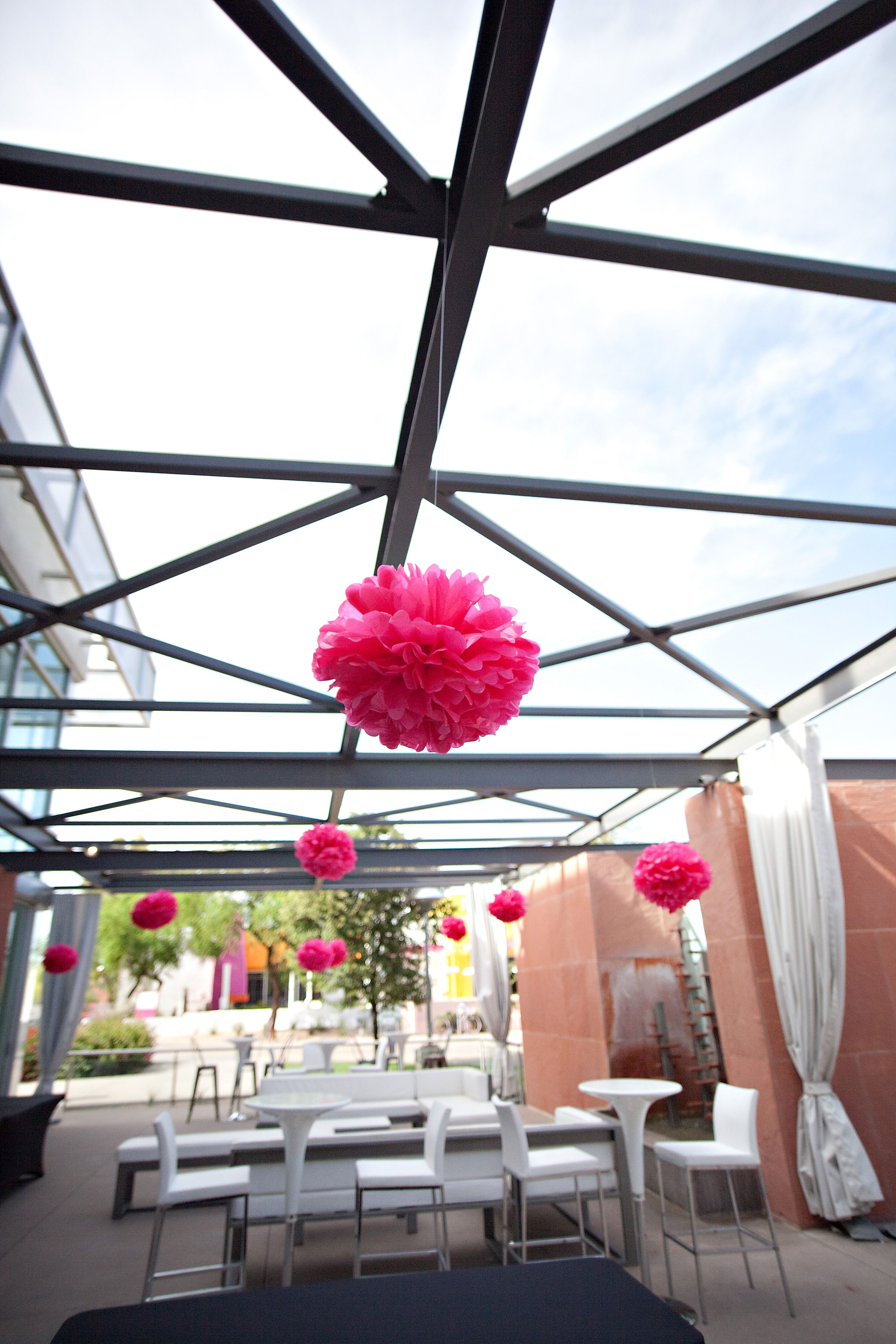 Reception and cocktail set up on terrace with hanging for Terrace party decoration