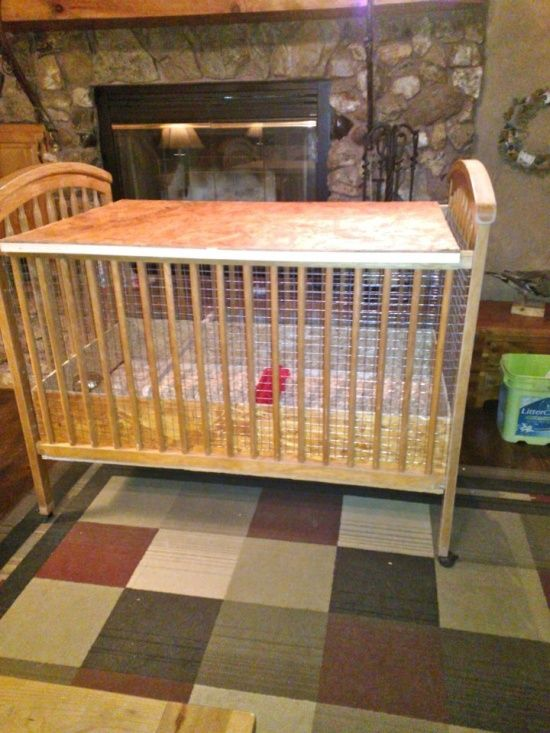 chick pen made from an old crib, if the crib has no wheels, add ...