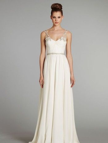 Bridal Gowns: Hayley Paige Sheath Wedding Dress with V-Neck Neckline and Natural Waist Waistline