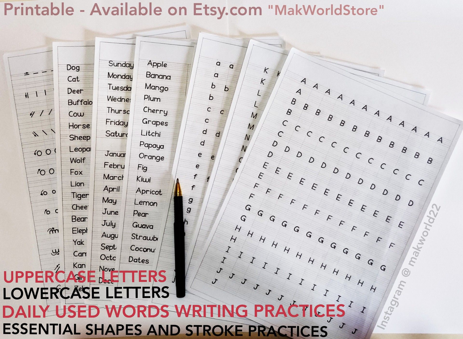 Printable Print Handwriting Worksheetsa4 12pages Uppercase