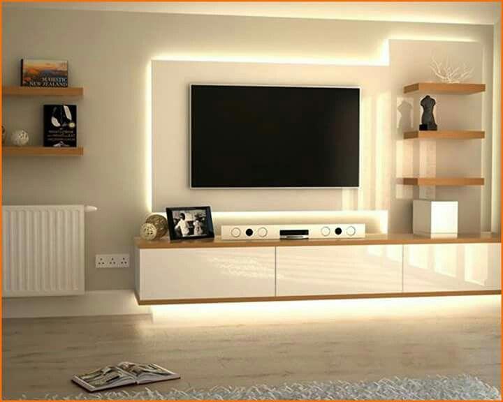 Tv Wall With Lights Hidden Cables Modern Tv Units Wall Unit Designs Tv Unit Decor