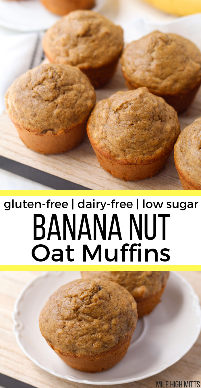 Banana Nut Oat Muffins (gluten-free, dairy-free, low sugar)