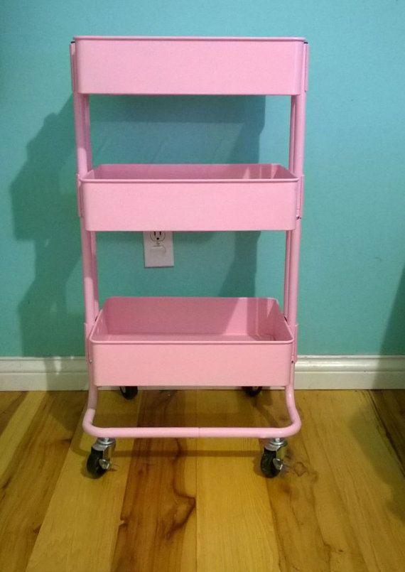 Ikea 3 Tier Pink Metal Rolling Utility Nursery Kitchen Cart