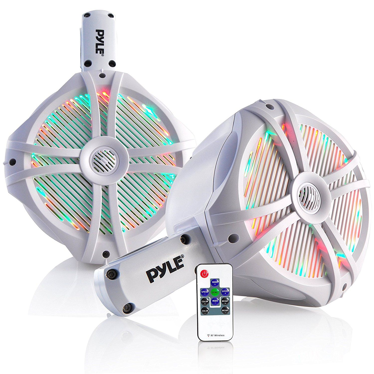 Pyle Plmrwb85lew Hydra Dual Tower Marine Wakeboard Speakers With Programmable Led Lights To View Fu Water Resistant Speaker Tower Speakers Multi Color Led