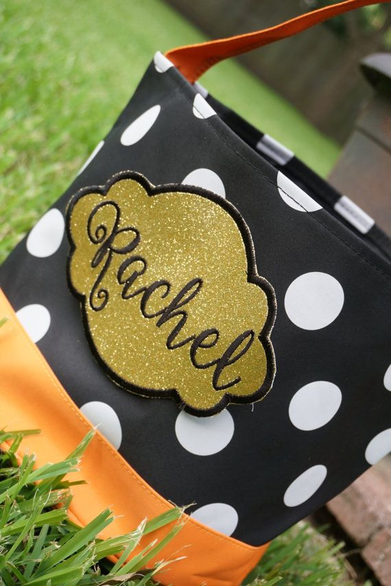Black and Gold Halloween Bag Polka Dot Trick or by DottieMDesigns - decorate halloween bags