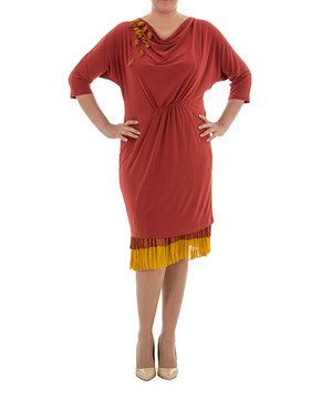 a0b2ee53496b25 Another great find on #zulily! Terracota Drape Dress - Plus by La Mouette  #zulilyfinds