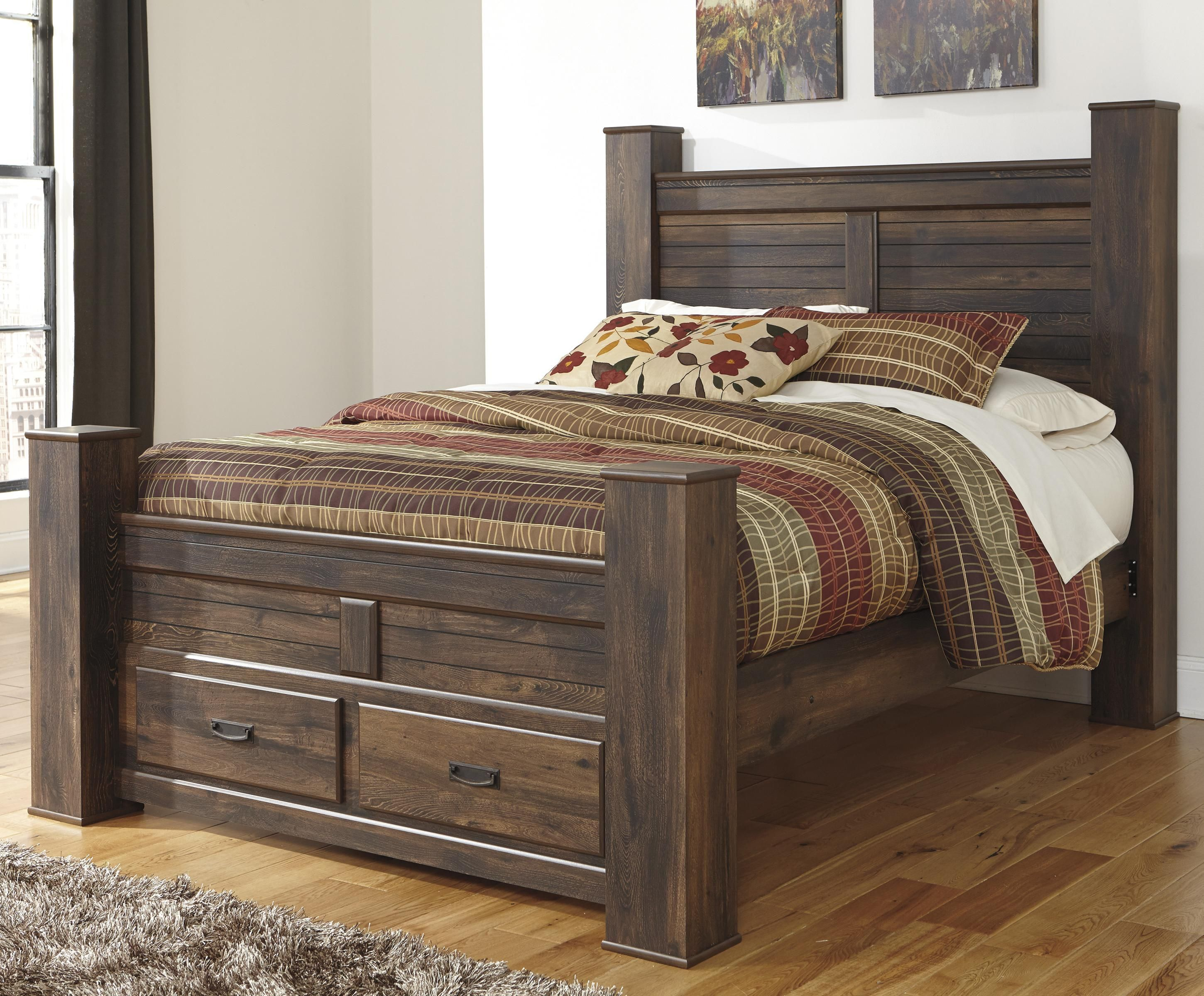 Quinden Queen Poster Bed with Storage by Signature Design by Ashley ...
