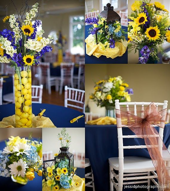 Royal Blue And Gold Wedding Decorations: Layout. Five. Sunflowers. Blue And Yellow. Wedding