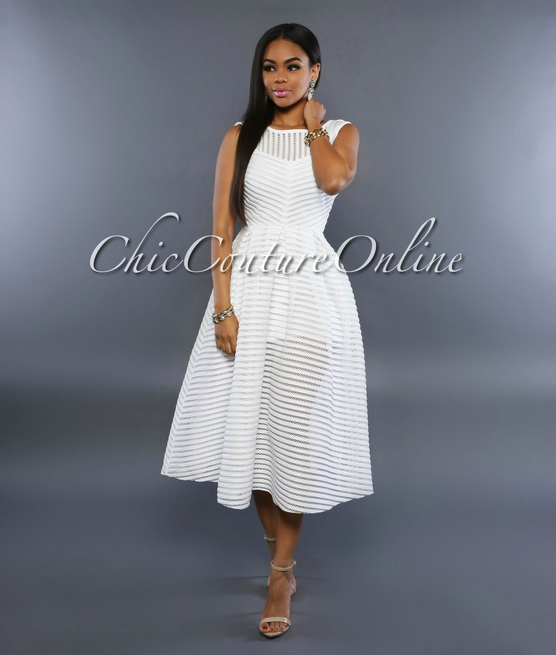Chic Couture Online - Antigona Off-White Silver Studded Dress ...