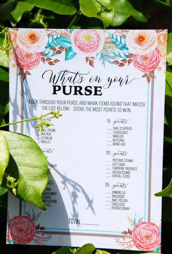 Bridal shower games Free Floral Bridal