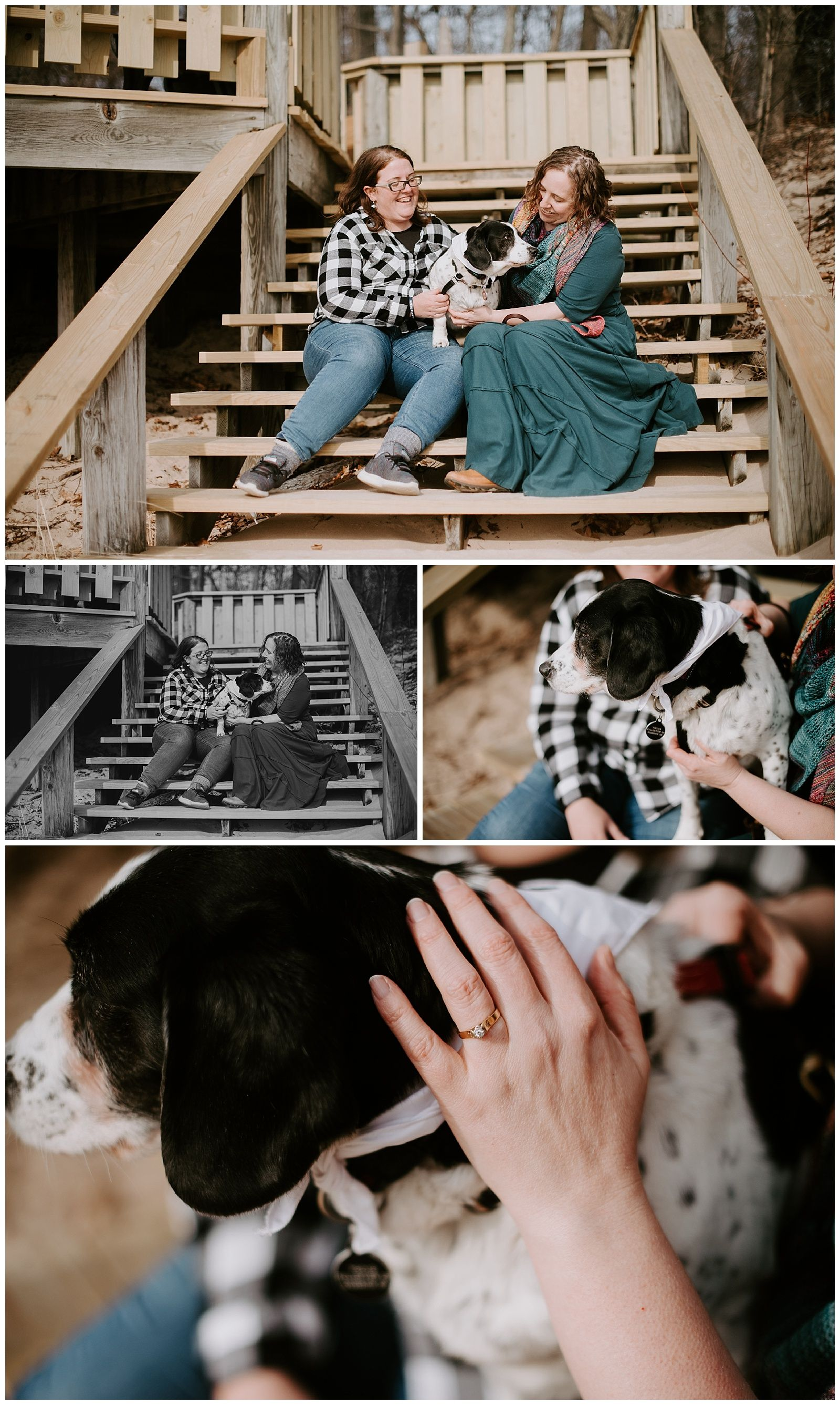 Lgbtq same sex beach engagement session with dogs inspiration