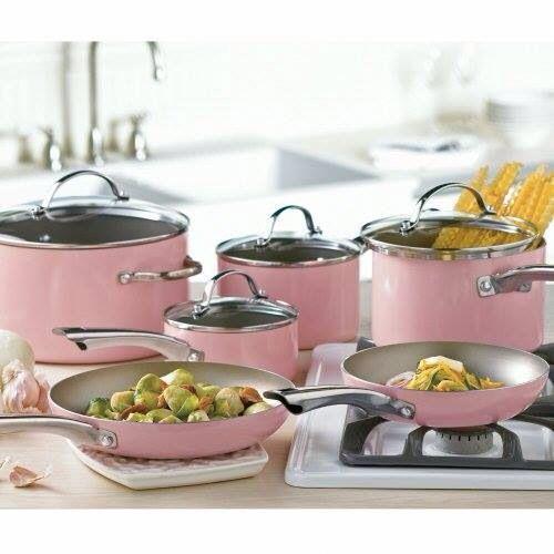 Light Pink Pots And Pans Home Decor Items Pinterest Kitchen