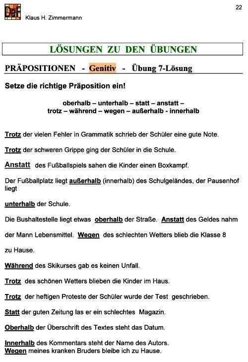 Deutsch als Fremdsprache DaF DaZ Grammatik - Präpositionen | Német ...