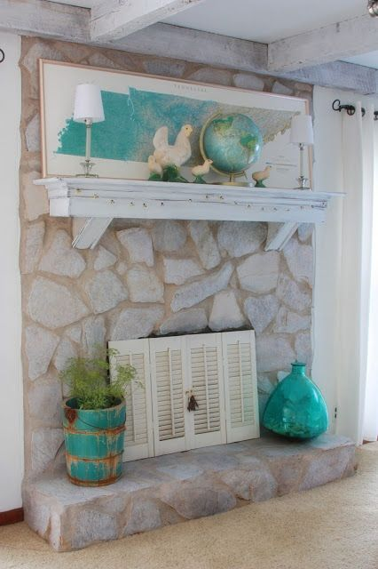 Erin 39 s art and gardens bringing blues and greens inside - Ideas to cover fireplace opening ...