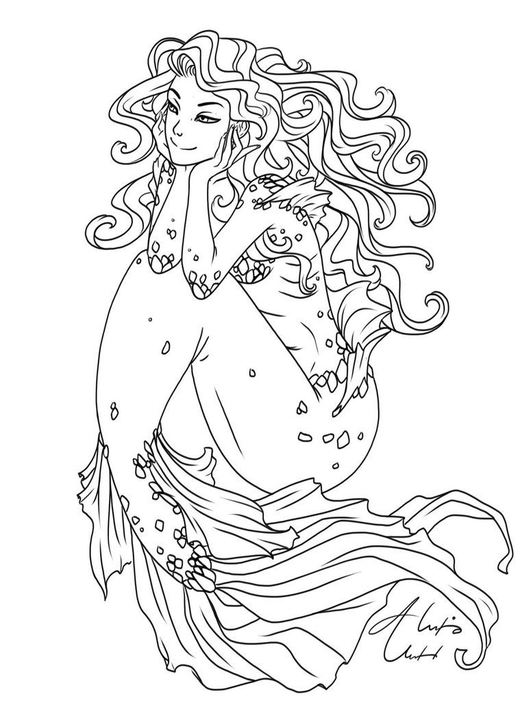Wavy Hair Ol By Alexisunderwoodarts Mermaid Coloring Pages