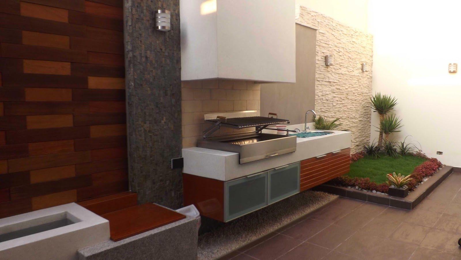 Disenos de parrilla parrilla en terraza de primer piso for Barbacoa patio interior