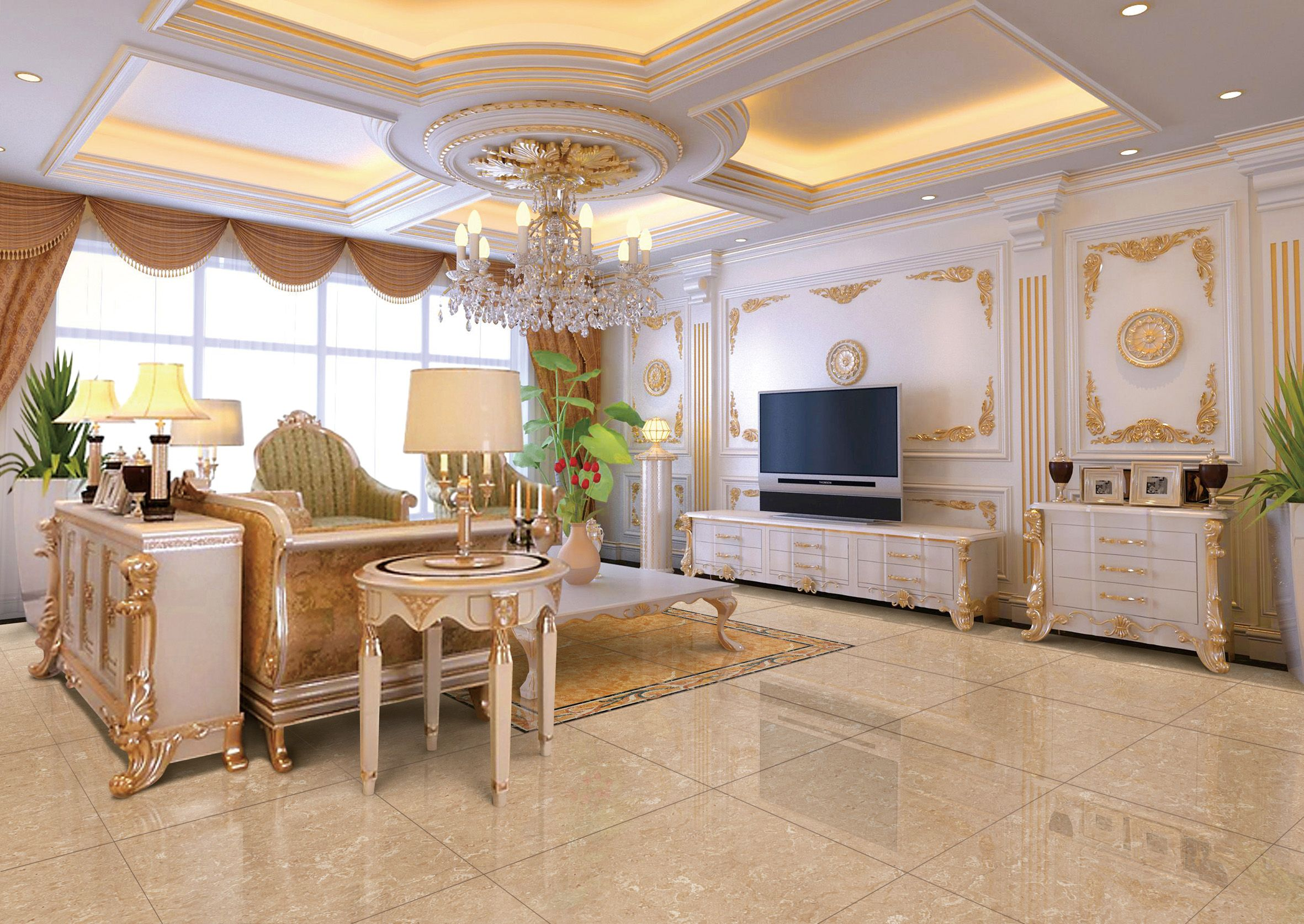 Beige Color Tiles Porcelain Tiles For Floor Color Tile Elegant Living Room House Design