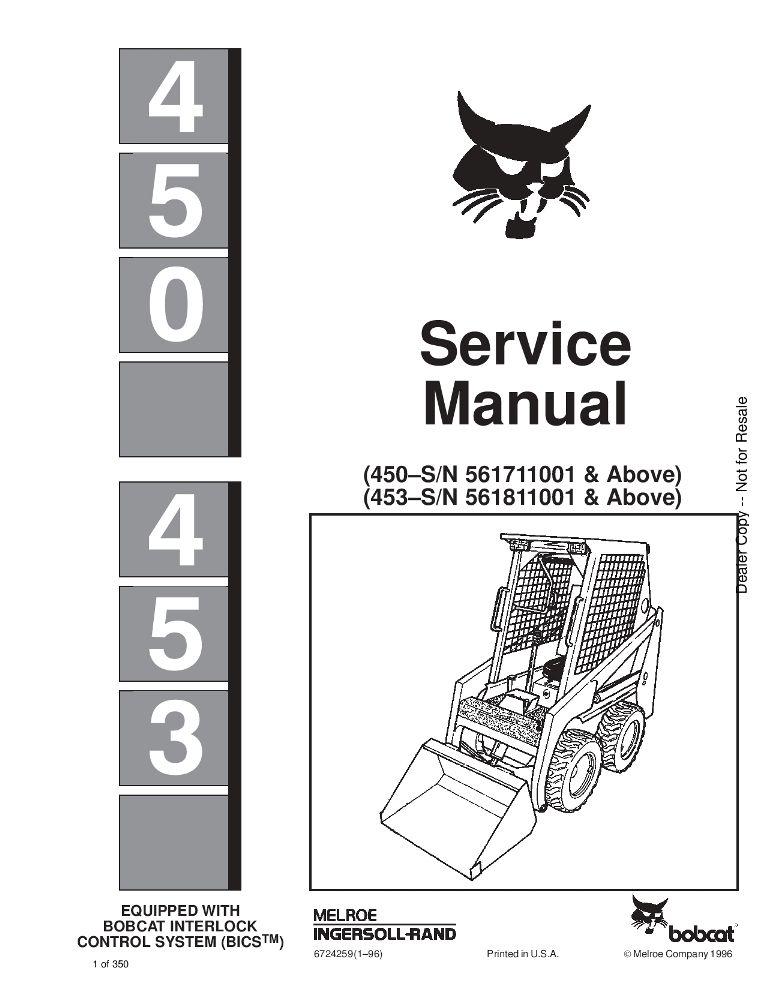 Bobcat 450 453 Skid Steer Service Manual Pdf Download Service Manual Repair Manual Pdf Download Skid Steer Loader Repair Manuals Manual