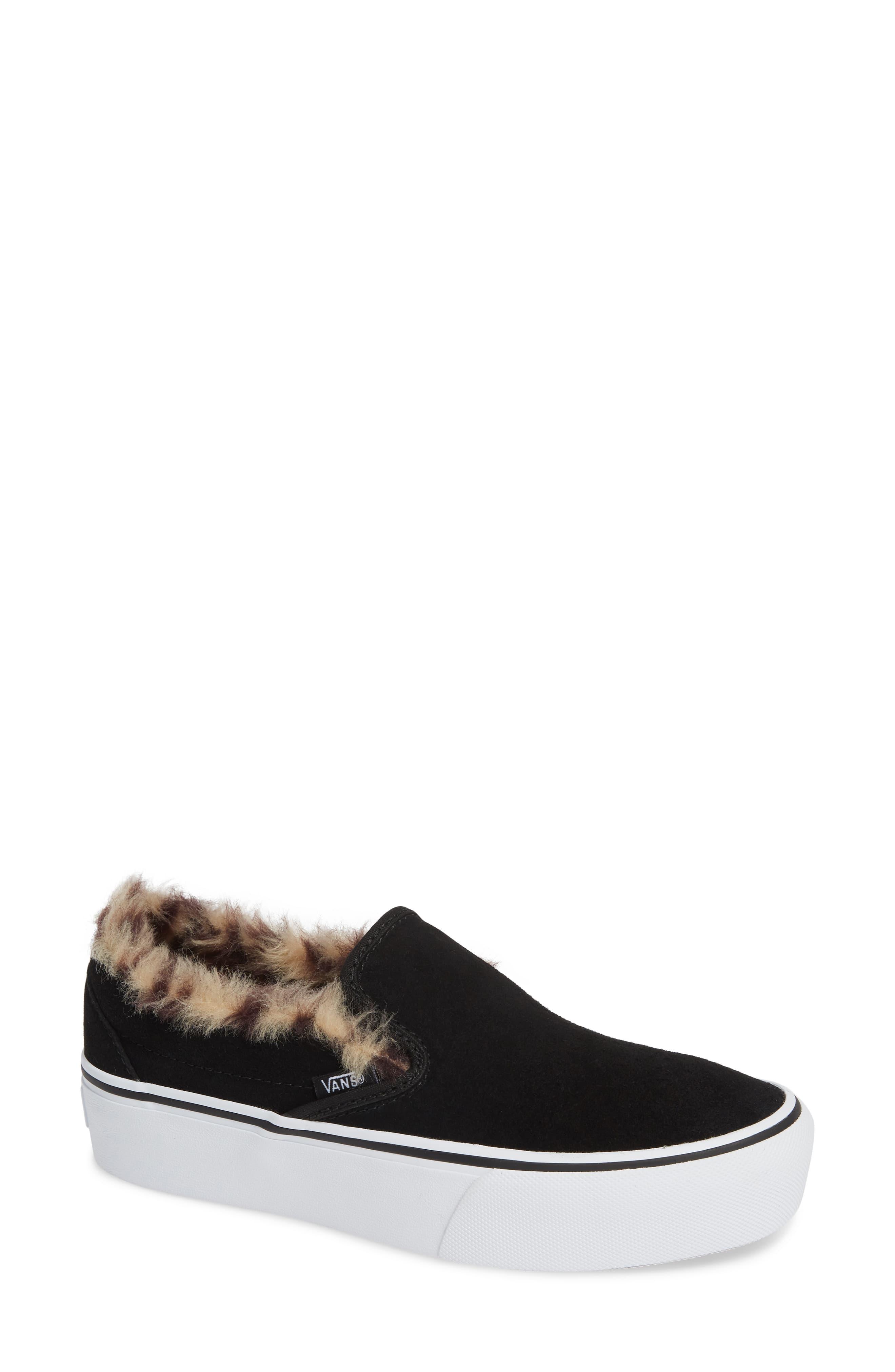Women's Vans Classic Faux Fur Slip-On Platform Sneaker, Size 9.5 M ...