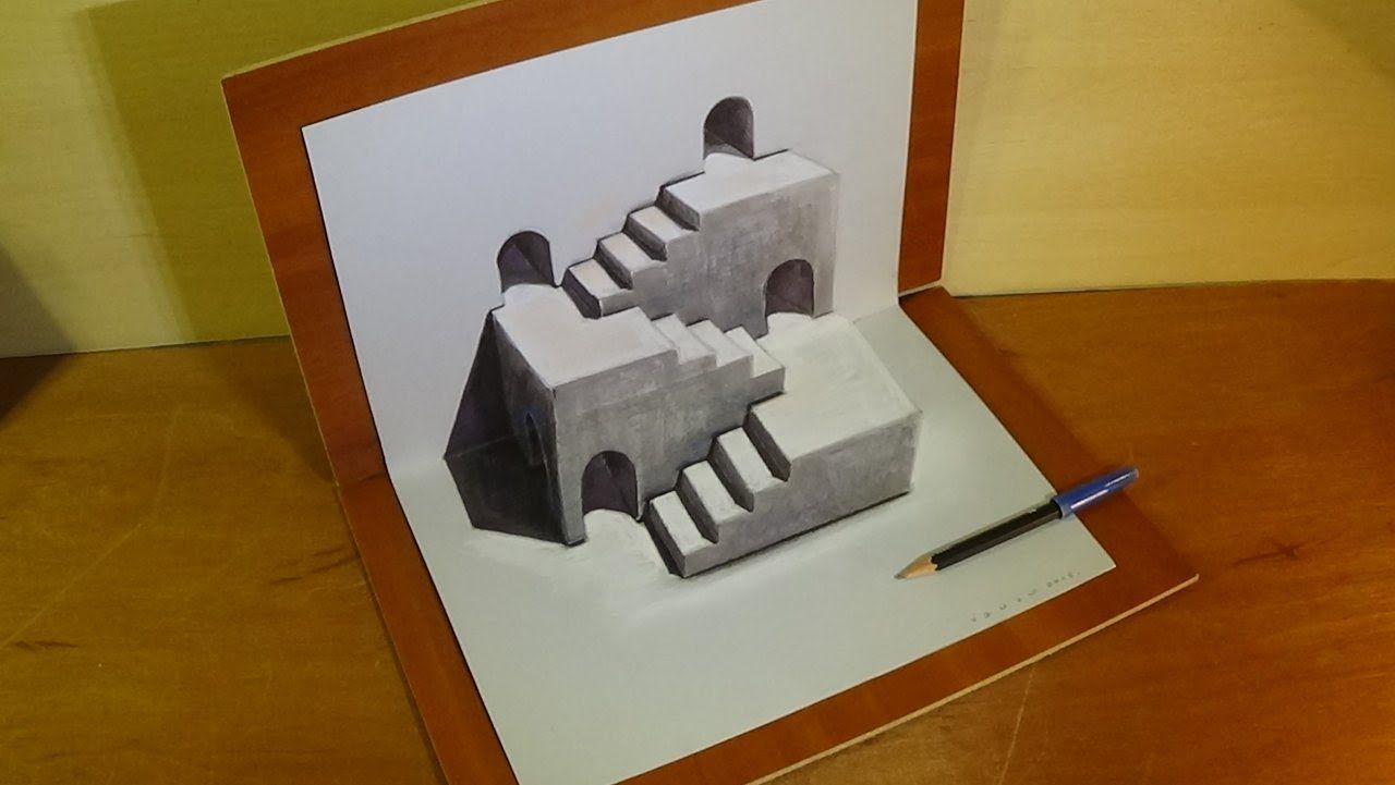 Drawing Three Dimensional Space Stairs Illusion Trick Art Stairs Illusion 3d Drawings Illusion Tricks