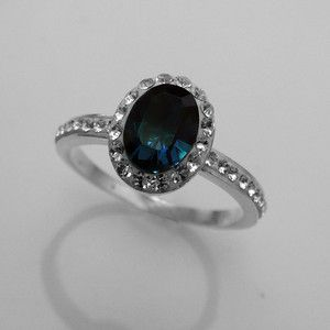 Sterling silver Ring montana blue and clear crystal