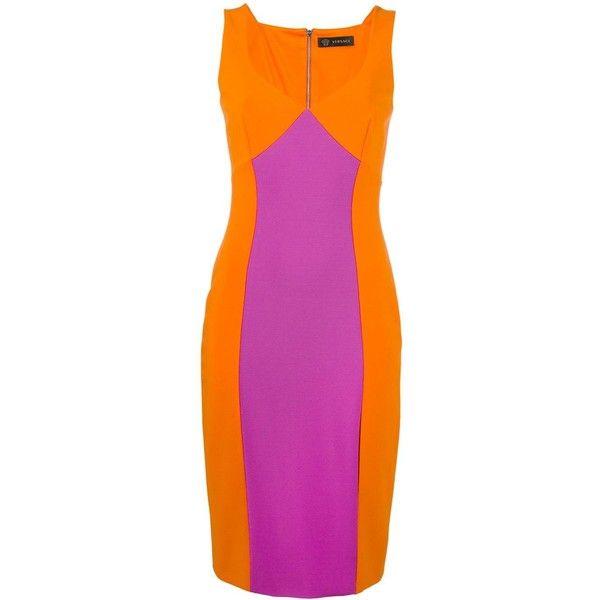 Versace colour block V-neck dress ($1,560) ❤ liked on Polyvore featuring dresses, purple color block dress, v neck dress, colorblock dress, sleeveless v neck dress and block print dresses