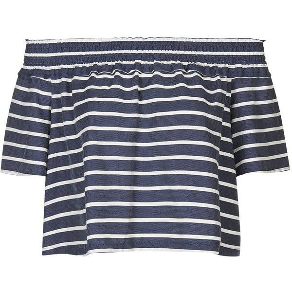 TopShop Stripe Smock Bardot Blouse (160 BRL) ❤ liked on Polyvore featuring tops, blouses, shirts, crop tops, navy blue, crop top, navy striped shirt, striped crop top, off shoulder shirt and ruffle shirt