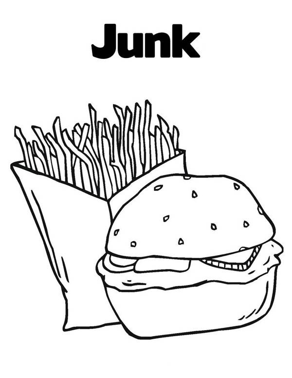 Junk Food Hamburger And Fries Coloring Page Download Print Online Coloring Pages For Free Color In 2021 Hamburger And Fries Online Coloring Pages Coloring Pages