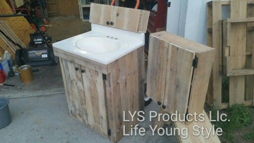 Bathroom Vanity And Cabinets Made From Pallet Wood Diy