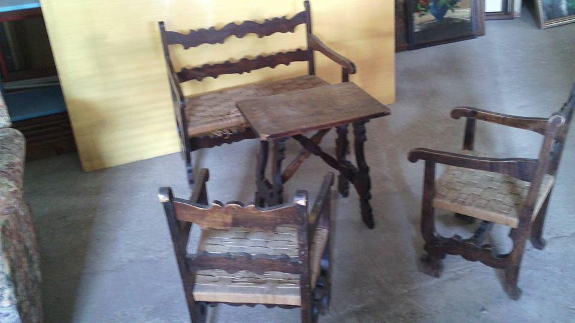 Sedie Antiquariato ~ Salottino da bambini antico completo di panca tavolino 2 sedie