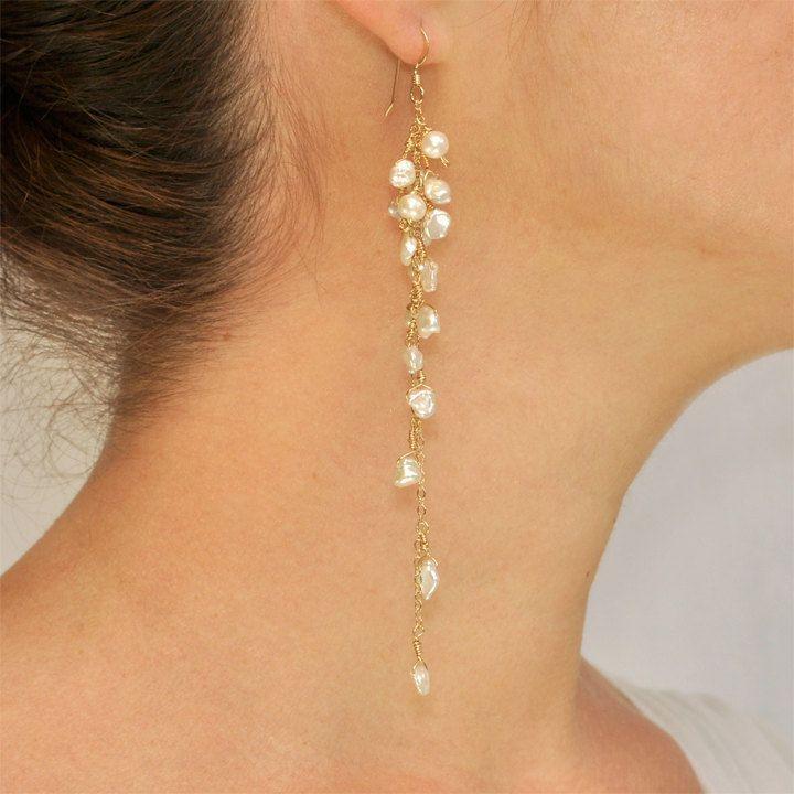 Weiße Süßwasser-Keishi-Perlengruppe Myla-Ohrringe. $ 100,00 über Etsy. #diyjewe ... #diyjewe #keishi #ohrringe #perlengruppe #wasser #pearljewelry