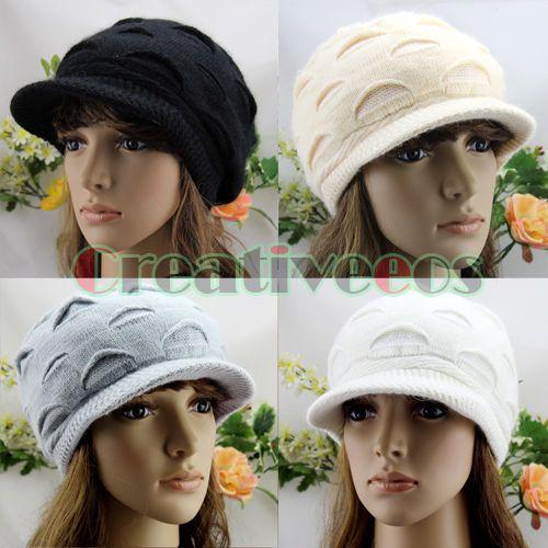 Women Korean Peaked Brim Knit Crochet Cap Warm Winter Lady Ski Beanie Wool Hat