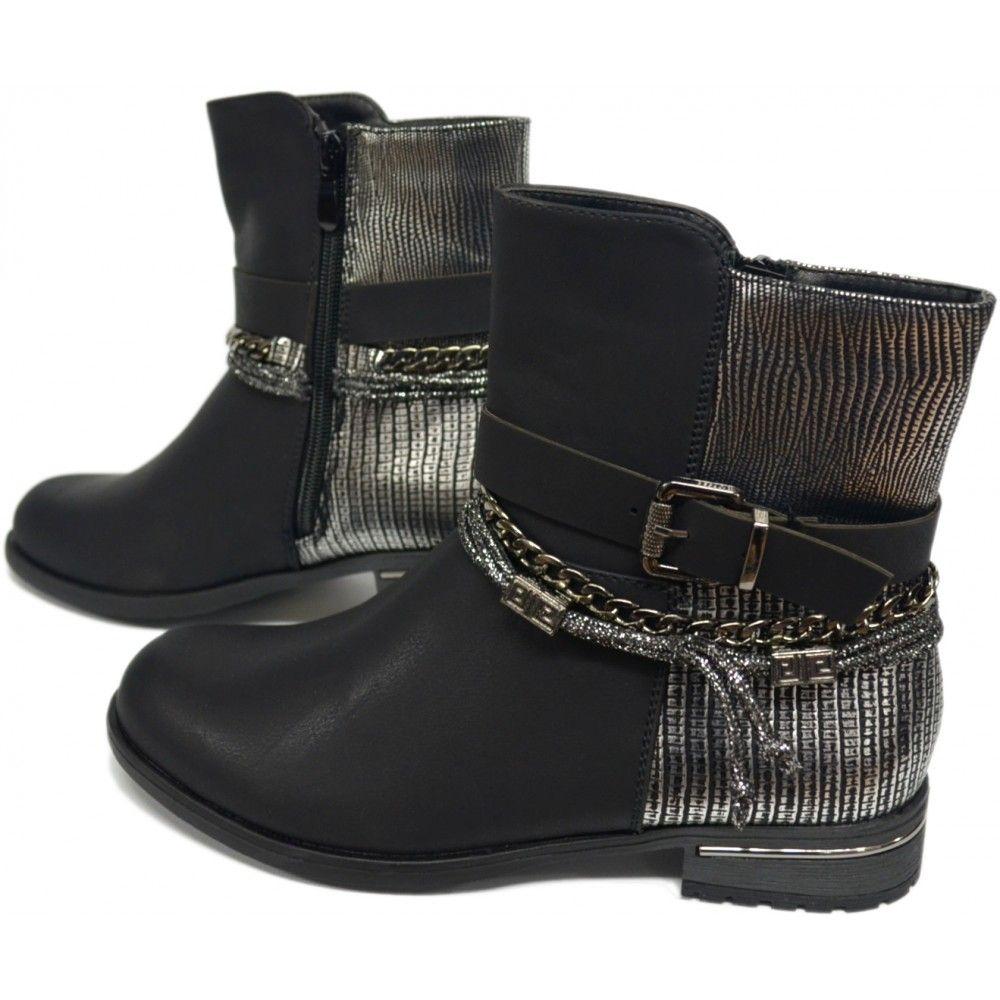 Enkellaarsjes met Decoratieve Banden en Ketting | Laarzen