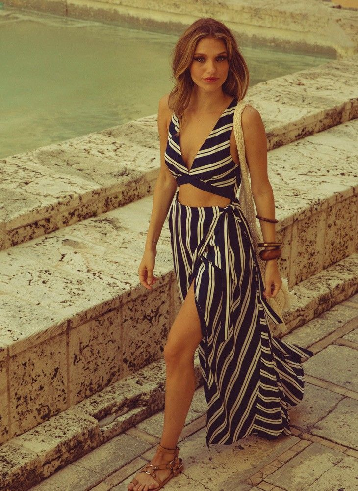 The jet set diaries palace maxi dress in stripes