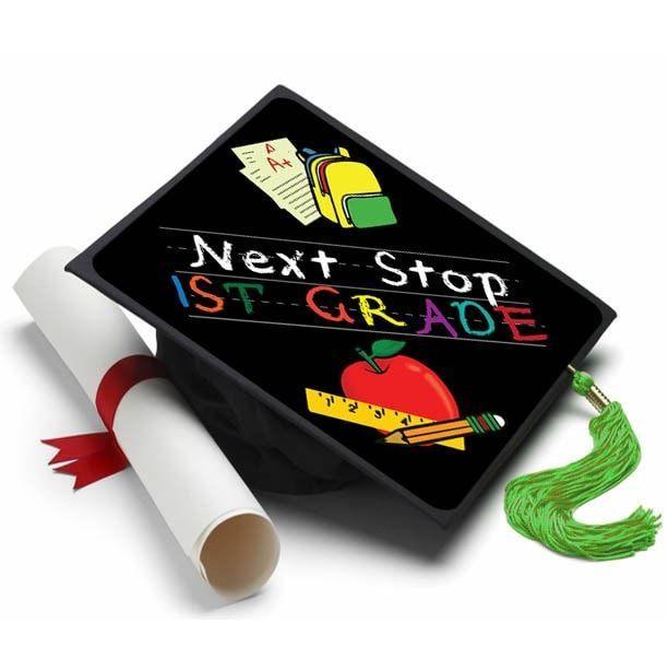Next Stop First Grade Grad Cap Tassel Topper Teacher Graduation Cap Kindergarten Graduation Cap Education Graduation Cap